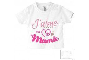 Tee-shirt de bébé j'aime ma mamie triple cœur fille