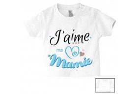 Tee-shirt de bébé j'aime ma mamie triple cœur garçon