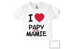 Tee-shirt de bébé i love papy et mamie cœur rouge