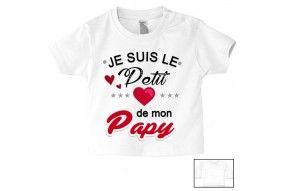 Tee-shirt de bébé je suis le petit cœur de mon papy
