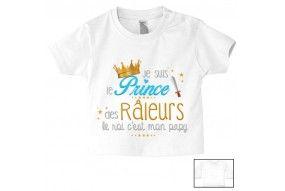 Tee-shirt de bébé je suis le prince des râleurs le roi c'est mon papy