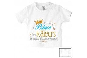 Tee-shirt de bébé je suis le prince des râleurs la reine c'est ma mamie
