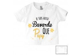 Tee-shirt de bébé je suis bavarde que papy