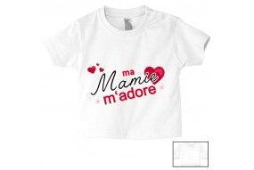 Tee-shirt de bébé ma mamie m'adore cœurs fille