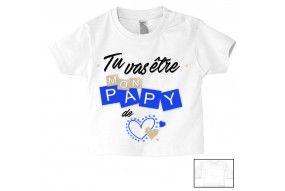 Tee-shirt de bébé tu vas être mon papy de cœur garçon