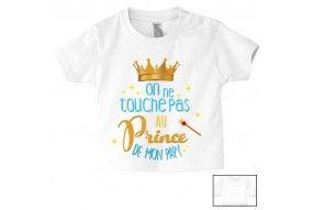 Tee-shirt de bébé on ne touche pas au prince de mon papy
