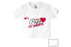 Tee-shirt de bébé mon papy m'adore cœurs fille