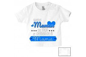 Tee-shirt de bébé quand maman dit non je demande à mamie cœurs garçon
