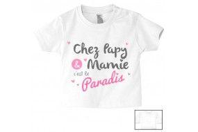 Tee-shirt de bébé chez papy et mamie c'est le paradis cœurs fille