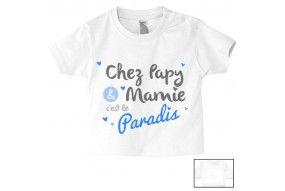 Tee-shirt de bébé chez papy et mamie c'est le paradis cœurs garçon