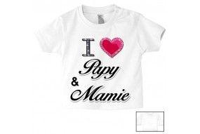 Tee-shirt de bébé i love papy & mamie brillant