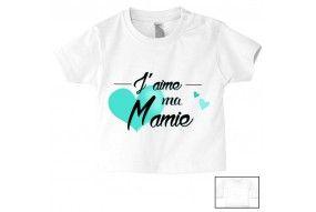 Tee-shirt de bébé j'aime ma mamie cœur turquoise