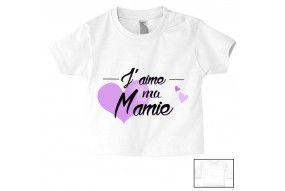 Tee-shirt de bébé j'aime ma mamie cœur violet