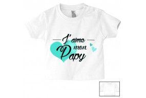 Tee-shirt de bébé j'aime mon papy cœur turquoise