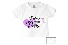 Tee-shirt de bébé j'aime mon papy cœur violet