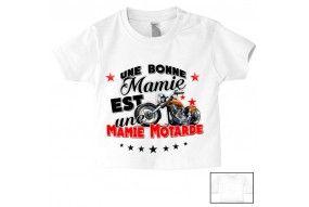 Tee-shirt de bébé une bonne mamie est une mamie motarde