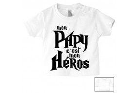 Tee-shirt de bébé mon papy c'est mon héros