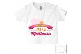Tee-shirt de bébé ma mamie est la meilleure