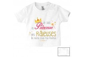 Tee-shirt de bébé je suis la princesse des râleuses la reine c'est ma mamie