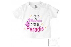 Tee-shirt de bébé chez ma mamie c'est le paradis ensoleillé fille