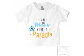 Tee-shirt de bébé chez ma mamie c'est le paradis ensoleillé garçon