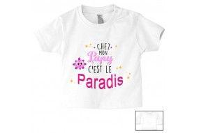 Tee-shirt de bébé chez papy c'est le paradis ensoleillé fille