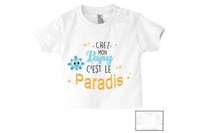 Tee-shirt de bébé chez papy c'est le paradis ensoleillé garçon