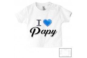Tee-shirt de bébé i love papy brillant garçon