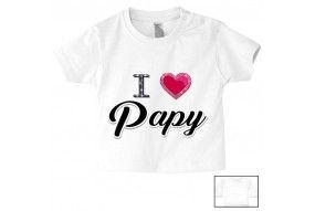 Tee-shirt de bébé i love papy brillant fille