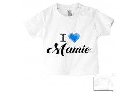 Tee-shirt de bébé i love mamie brillant garçon