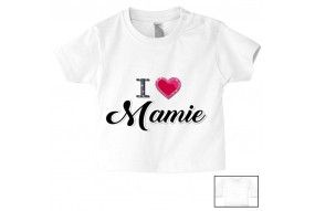 Tee-shirt de bébé i love mamie brillant fille