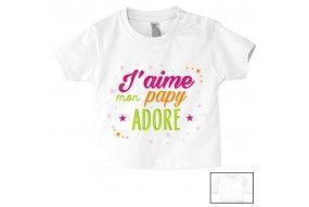 Tee-shirt de bébé j'aime mon papy adoré fille
