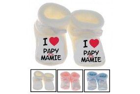 Chaussons de bébé i love papy et mamie cœur rouge