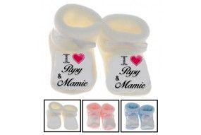 Chaussons de bébé i love papy & mamie brillant