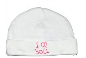 Bonnet de bébé i love you peint