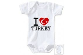 Body de bébé i love Turkey flag