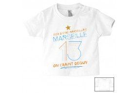 Tee-shirt de bébé fier d'être Marseillais on craint Degun