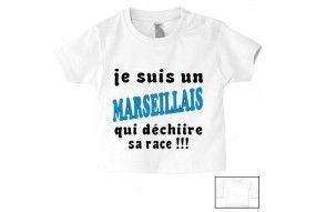 Tee-shirt de bébé je suis un Marseillais qui déchiire sa race