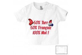 Tee-shirt de bébé 50% Turc 50% Français 100% Moi