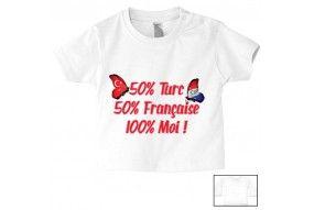 Tee-shirt de bébé 50% Turc 50% Française 100% Moi