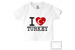 Tee-shirt de bébé i love Turkey flag