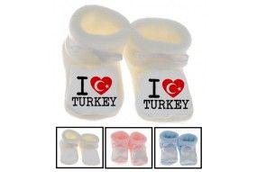 Chaussons de bébé i love Turkey flag