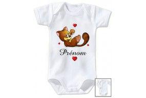 Body de bébé souris coeurs personnalisée