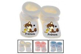 Chaussons de bébé chien fille personnalisé