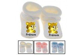 Chaussons de bébé chat jaune personnalisé