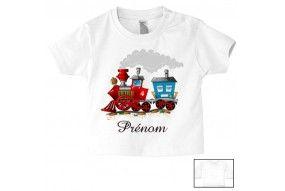 Tee-shirt de bébé train rouge personnalisée