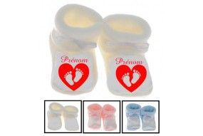 Chaussons de bébé train rouge personnalisée
