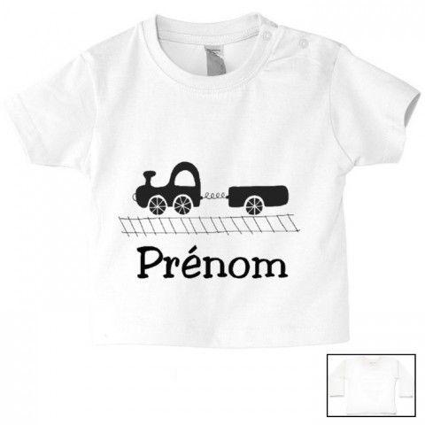 T-shirt Enfant Petit Train avec Prénom Personnalisé