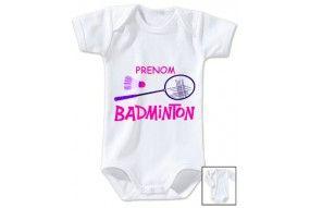 Body de bébé badminton lapin crétin personnalisé