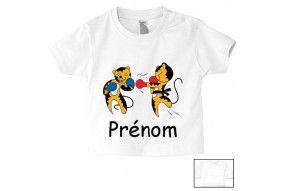 Tee-shirt de bébé badminton lapin crétin personnalisée